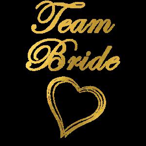 Team Bride Herz Gold Junggesellinenabschied