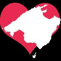 Mallorca Herz mit Landkarte - Rot