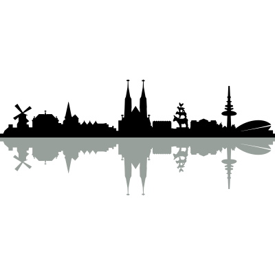 Skyline Bremen Schatten - Skyline Bremen Schatten - weser,wahrzeichen,universität,turm,stadtmusikanten,stadt,stadion,skyline,silhouette,sehenswürdigkeit,panorama,haus,gebäude,denkmal,bremer,bremen