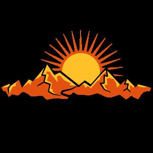 Berge Mit Wanderweg Und Sonne