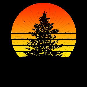 Retro Sun Minimalist Pine Tree T Shirt