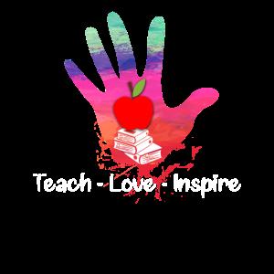 Teach Love Inspire Teacher Teaching MultiColor