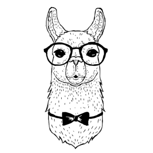 Alpaka mit Brille_ weiss