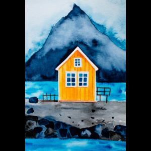 Norwegen Lofoten Oranges Haus Aquarell Poster