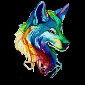 Majestätischer Regenbogenwolf