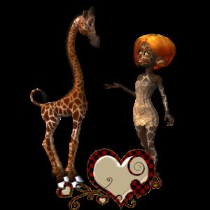 Nettes Giraffenbaby mit kleiner Fee
