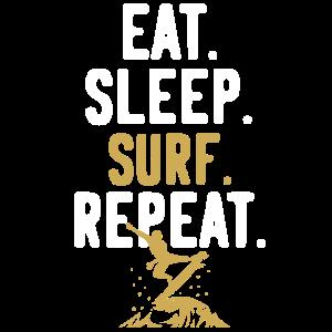 Surfen Surfer Surf Sprüche Repeat
