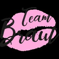 Team Braut mit Lippen in pink