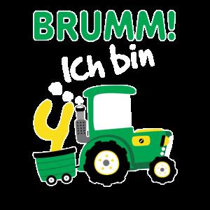 Kinder 4. Geburtstag Shirt Traktor Jungen 4 Jahre