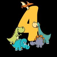 Kinder 4. Geburtstag Shirt Dinos Jungen 4 Jahre
