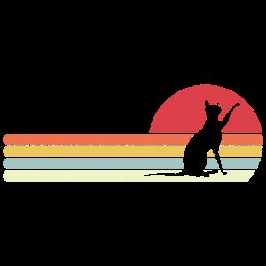 Katzen Silhouette Retro Style Geschenk