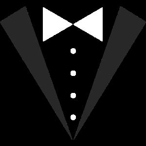 Fliege und Smoking I Aufdruck Anzug für Mottoparty