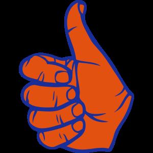 Daumen ok gültige Finger Hand