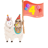 Geburtstag 4 Jahre Alpaka, Faultier Alpaka, Lama