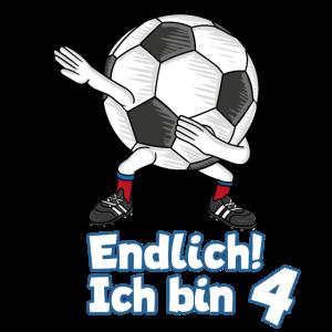 Geburtstag 4 Jahre Dabbing Fußball T-Shirt Vier