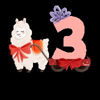 Geburtstag 3 Jahre Alpaka, Lama T-Shirt Drei