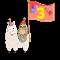 Geburtstag 3 Jahre Alpaka, Faultier T-Shirt Drei
