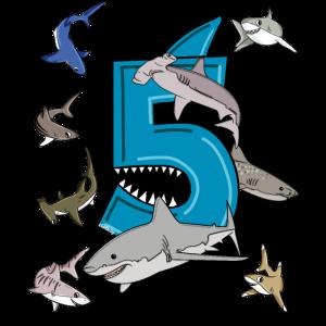 Geburtstag 5 Jahre Weißer Hai T-Shirt Fünf