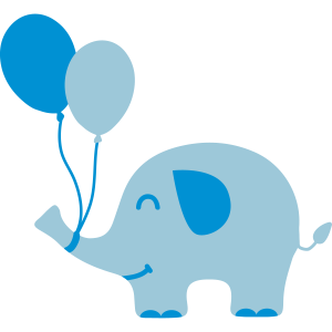 Sweet Funny Baby Elephant with Balloons