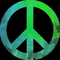 Peace grünblau Aquarell bunt Geschenk symbol