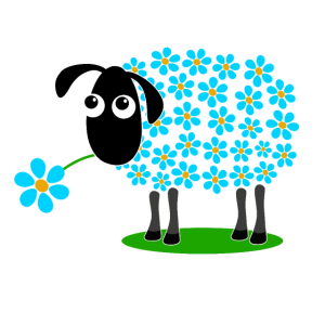 Schaf mit türkisen Blumen statt Wolle - Geschenk