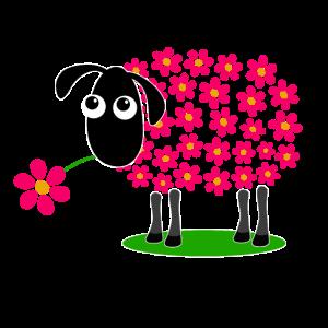Schaf mit Blumen hell rot statt Wolle - Geschenk