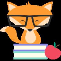 schlauer Fuchs mit Nerdbrille Bücher und Apfel
