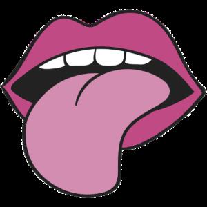 Zunge aus Mund gestreckt