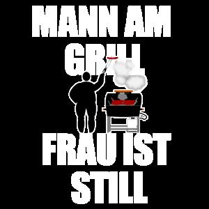 Mann am Grill Frau ist Still