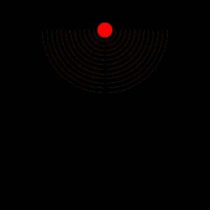 Abstraktes Design mit Halbkreisen und rotem Kreis