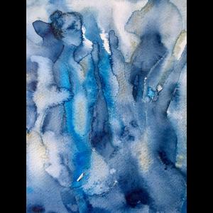 IMG 3046 Frau in blauem Aquarell