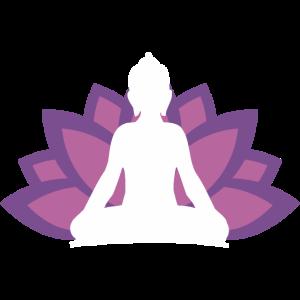 Buddha meditiert vor Lotusblüte