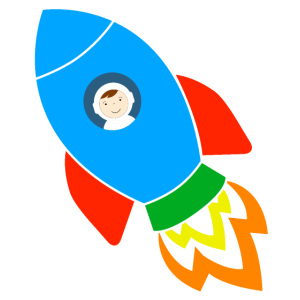 Rakete mit Astronaut
