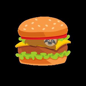 Faultier Faul Burger Essen Lecker Lustig