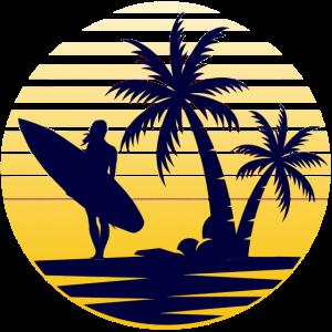 Surfen Palmen surferin Meer surfing