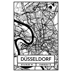 Düsseldorf – Stadtplan Poster City Map (Retro)