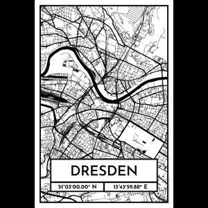 Dresden – Stadtplan Poster City Map (Retro)