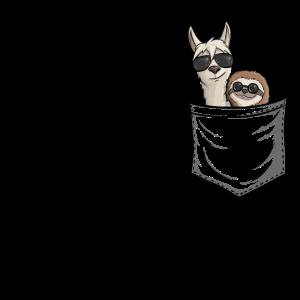 Sonnenbrille Faultier & Lama in Tasche Geschenk