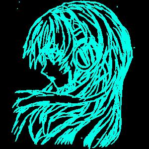 Anime Manga Girl Bild türkis