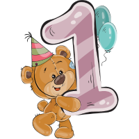 Bär Teddybär 1 Jahr Geburtstag Happy Birthday