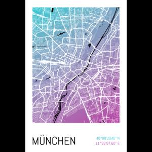 München – Stadtplan Poster City Map (Gradient)