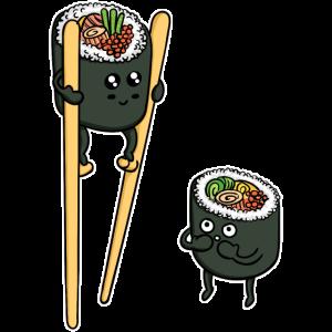 Sushi Reis Stäbchen Japan Lustig Japanisch Essen