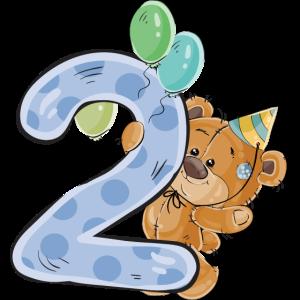 Teddybär 2 Jahre Geburtstag Happy Birthday