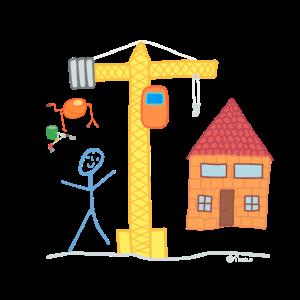 Hausbau Strichmännchen Immobilien Kran Architekt