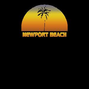 Vintager Newport-Strand-Strand-Palme-Sonnenuntergang cool