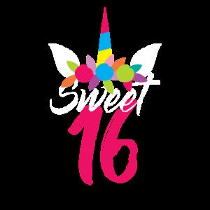 Sweet 16 sixteen Geburtstag Einhorn Geschenk