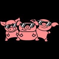 3 Freunde Party DJ Team Schweine