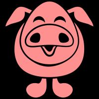 Lustiges Lachendes Fröhliches Schweinchen