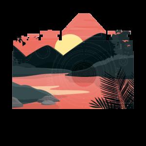 Kamera mit schöner Landschaft im Hintergrund