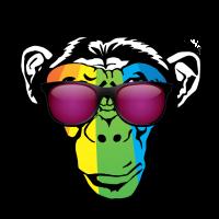Bunter Affe mit Sonnenbrille für Affen Liebhaber